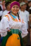 Kobieta taniec podczas karnawału, Galapagos wyspy Obrazy Royalty Free