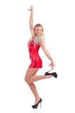 Kobieta taniec w czerwieni sukni Zdjęcia Royalty Free