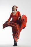 Kobieta taniec w czerwieni sukni Zdjęcie Royalty Free