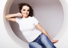 kobieta target240_0_ w okręgu Zdjęcie Stock