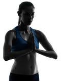 Kobieta target176_0_ joga portreta ręki łączyć Fotografia Royalty Free