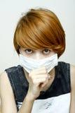 Kobieta target213_0_ ochronną maskę fotografia stock