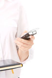Kobieta target300_1_ telefon komórkowy Obraz Stock