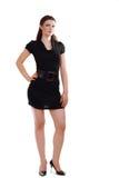 Kobieta target507_0_ w czerń sukni zdjęcie royalty free
