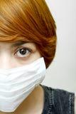 Kobieta target579_0_ ochronną maskę zdjęcie stock