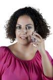 Kobieta target656_0_ na telefonie Zdjęcia Royalty Free