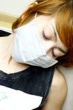 Kobieta target829_0_ ochronną maskę zdjęcie stock