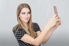 Kobieta telefon komórkowy fotografia royalty free