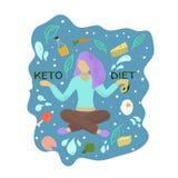 Kobieta trzyma dwa słowa keto i dietę ilustracja wektor