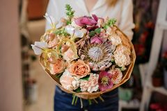Kobieta trzyma eleganckiego bukiet kwiaty Obraz Royalty Free