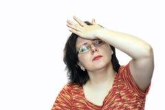 Kobieta trzyma jej głowę w jej ręce Migrena obraz stock