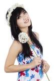 Kobieta trzyma kwiatu Obraz Stock