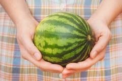 Kobieta Trzyma Mini arbuza w Ona ręki Zdjęcia Stock