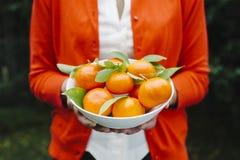 Kobieta trzyma puchar tangerines zdjęcie stock