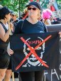 Kobieta trzyma Putin sztandar Fotografia Royalty Free