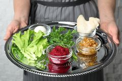 Kobieta trzyma tradycyjnego Passover Pesach Seder talerza z symbolicznym posiłkiem zdjęcie stock