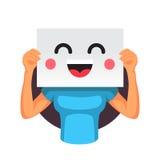Kobieta trzyma uśmiechniętego emoticon przed głową royalty ilustracja