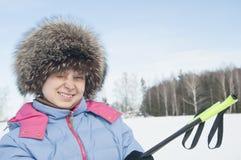 Kobieta turysta skier4 Zdjęcia Stock
