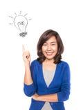Kobieta uśmiecha się wskazywać w górę pokazywać doodle żarówki pomysł zdjęcie stock