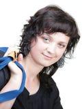 Kobieta uśmiechu nd naramienna torba odizolowywająca Fotografia Stock