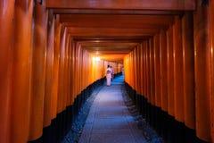 Kobieta ubierał kimonowego odprowadzenie w czerwonej antycznej drewnianej torii bramie przy F Fotografia Royalty Free