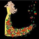 Kobieta ubierająca w lato jagodach Ilustracji