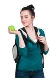 Kobieta uczeń z Apple Obrazy Royalty Free