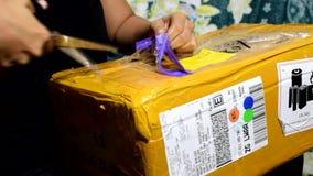 Kobieta unboxing kwadrata copter pakunek kupował i dostarczał od za granicą zdjęcie wideo