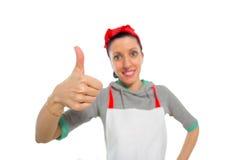 Kobieta up gestykuluje z kciukiem Zdjęcie Royalty Free
