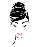 Kobieta włosianego stylu ikona, logo kobiety stawia czoło Obraz Royalty Free