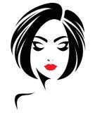 Kobieta włosianego stylu krótka ikona, logo kobiety stawia czoło na białym tle Obrazy Stock