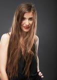 Kobieta włosianego stylu mody portret Zdjęcia Stock
