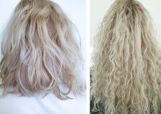 Kobieta włosy r przed i po, traktowanie zdjęcie stock