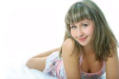Kobieta w łóżku fotografia stock