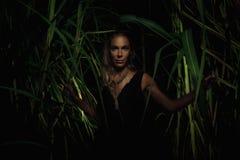 Kobieta w bambusa ogródzie Obrazy Royalty Free
