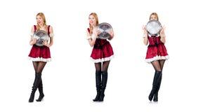 Kobieta w bavarian kostiumu odizolowywaj?cym na bielu zdjęcia stock