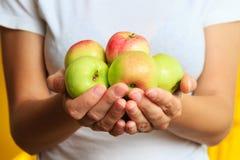 Kobieta w białej koszulce trzyma świeżą cukierki zieleń jabłczana w jego rękach Obraz Stock