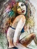 Kobieta w bikini sztuce ilustracji