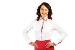 Kobieta w biznes stewardesie na białym tle lub mundurze Zdjęcie Royalty Free