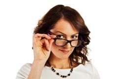 Kobieta w biznesu jednolity wskazywać przy tobą Fotografia Stock