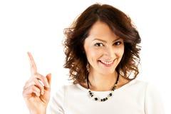 Kobieta w biznesu munduru punktu palcu Obrazy Royalty Free
