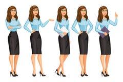 Kobieta w biznesu stylu z szkłami Dziewczyna w różnych pozach royalty ilustracja