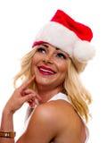 Kobieta w Boże Narodzenie nakrętce Obrazy Royalty Free