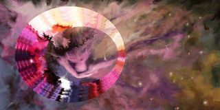Kobieta w chmurnego nieba tle ilustracji
