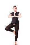 Kobieta w ciąży ćwiczyć odizolowywam na bielu Obraz Stock