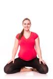 Kobieta w ciąży ćwiczyć odizolowywam na bielu Zdjęcia Royalty Free