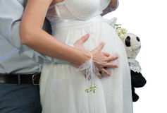 Kobieta w ciąży biel Obrazy Royalty Free