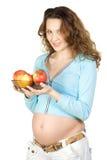 kobieta w ciąży jabłek Zdjęcie Stock
