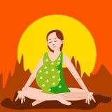 kobieta w ciąży, jogi ilustracja wektor
