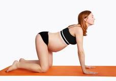 Kobieta w ciąży robi joga i relaksować Fotografia Royalty Free
